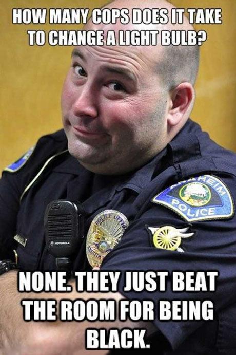 Cop Tells Racist Light Bulb Joke