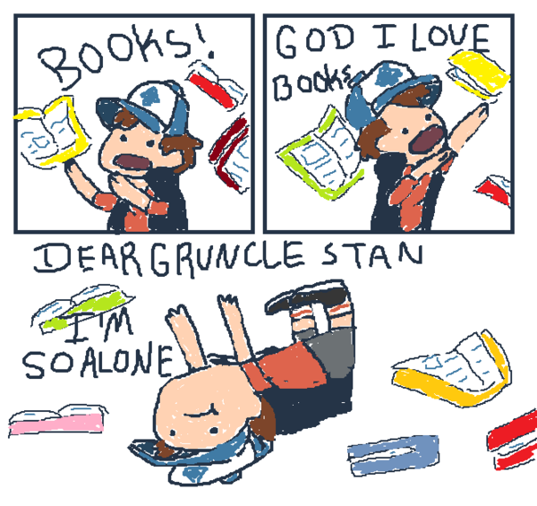 dipper gets all the books by ~agreenflower