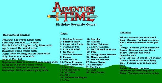 Adventure Time birthday scenario game