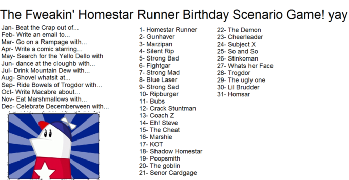 Homestar Runner birthday scenario game