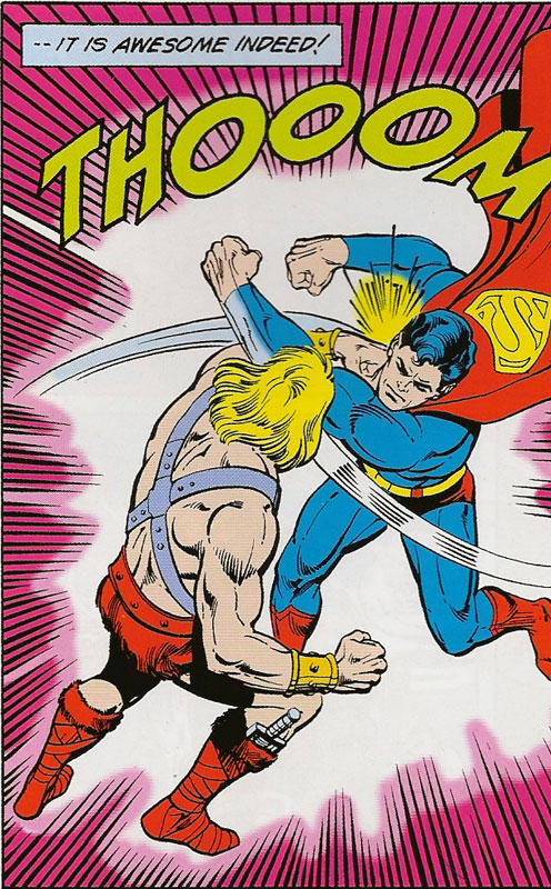Superman fighting He-Man