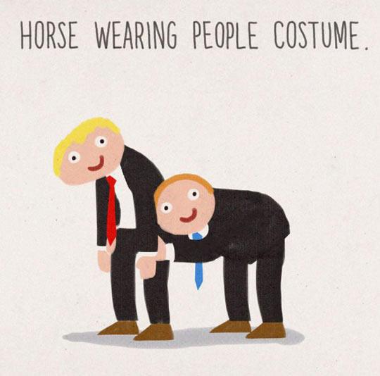 Horses Wearing People Costume