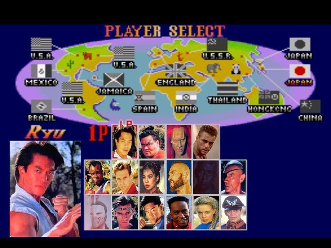 Street Fighter: The Movie Player Select Screen