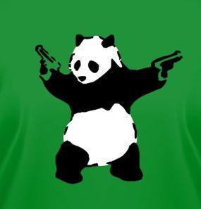 This panda is packing heat.