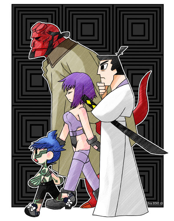 Samurai Jack, Hellboy, Hitoshura, and Major Motoko Kusanagi