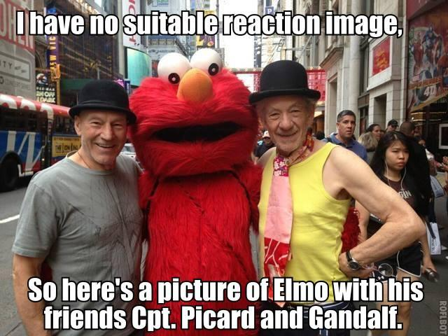 I have no suitable reaction image, so here's a picture of Elmo with his friends Captain Picard and Gandalf.