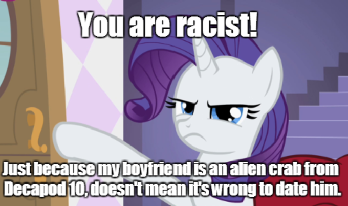 Rarity argues with a Pony against Pony and Alien Crab partnerships.
