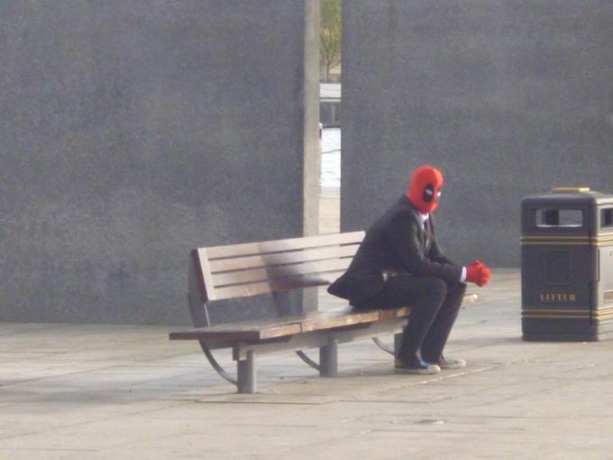 Sad Deadpool Cosplayer