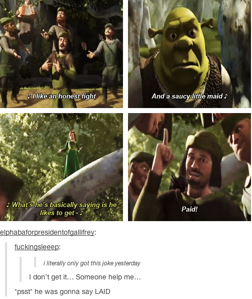 Late to the punchline in Shrek