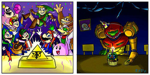 Legend of Zelda and Metroid celebrating their 25th anniversaries.