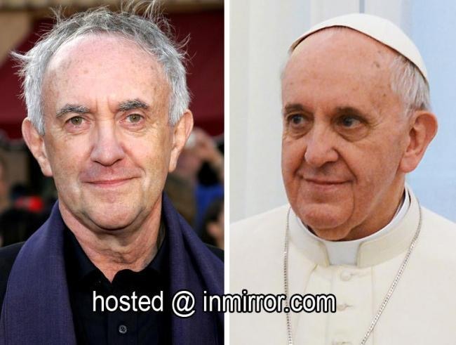 Jonathan Pryce and Pope Francis