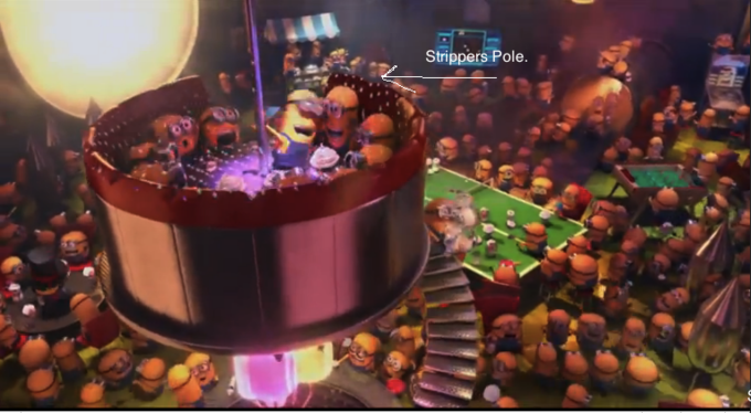 The minion on the pole is later shown twerking. From Despicable Me 2.