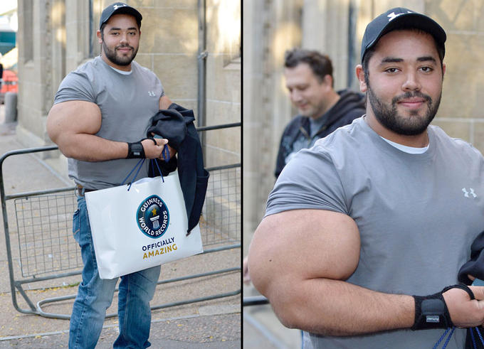Winning a Guinness World Record for biggest biceps in the world, even though he used synthol to get arms that big.