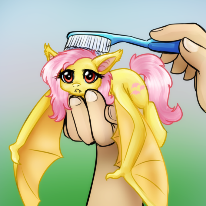 Flutterbat enjoys brushies
