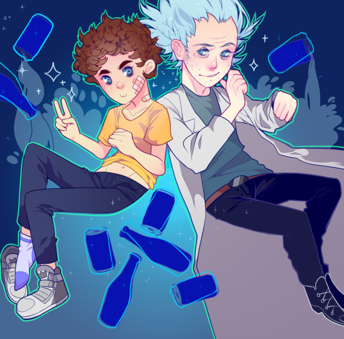 Anime style Rick and Morty fan art