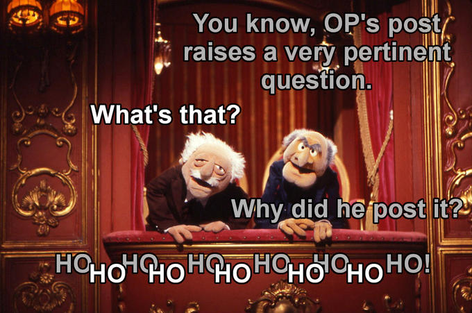 Image result for waldorf and statler memes