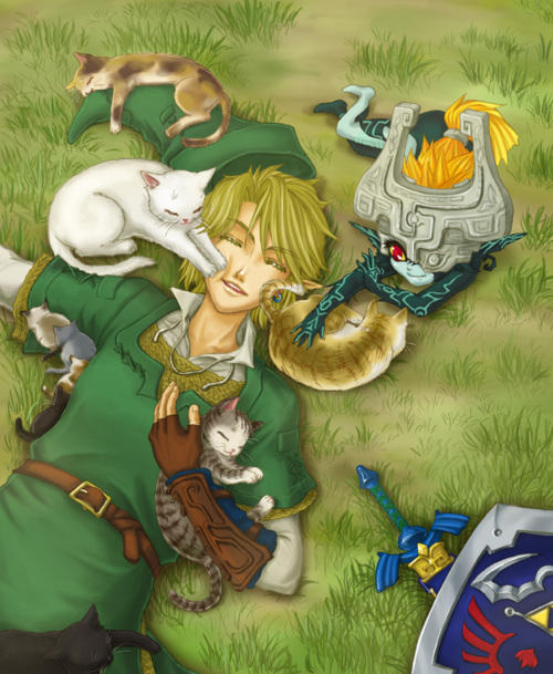 Link + Midna + cats = best picture ever