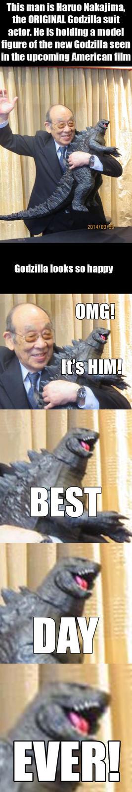 Haruo Nakajima With 2014 Godzilla Model
