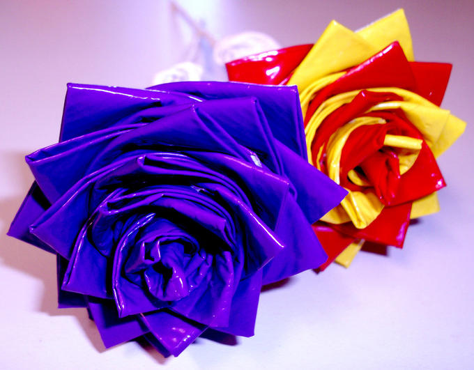 two duct tape roses