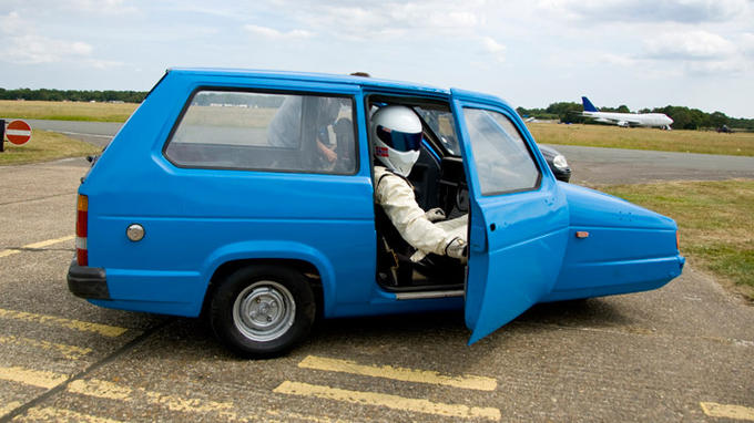 The Stig in a Reliant Robin