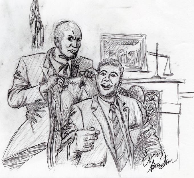 ... Jordan Peele Key & Peele sketch black and white cartoon drawing art  male fictional character human ...