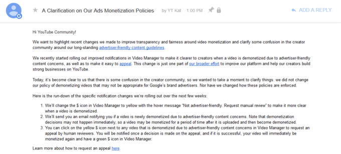"""A Clarification on Our Ads Monetization Policies"""
