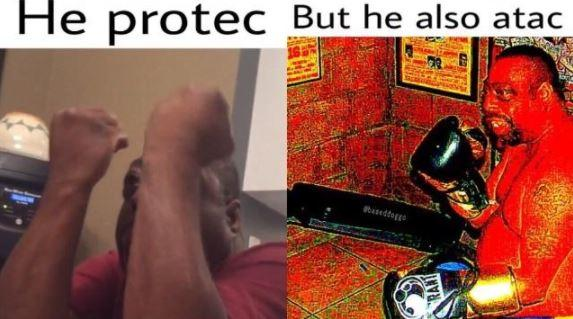 black man with his fists up and another shot of him with gloves on in a He Protec but he also Attac meme