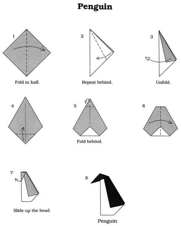 Origami penguin penguins know your meme for Easy things to make out of paper for kids