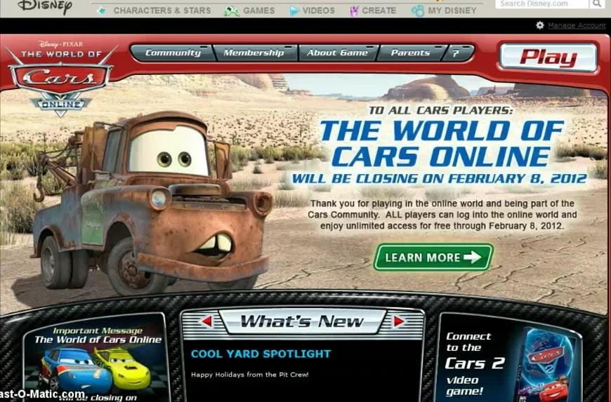 Disney Pixar Cars Games Online