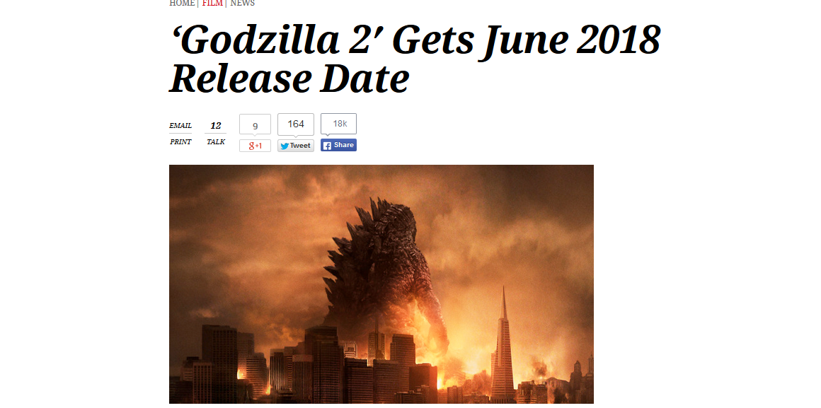Godzilla 2 To Be Released in June 2018 | Godzilla | Know ...
