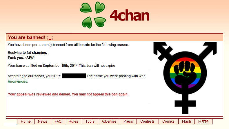 Ban appeal against SJW  4chan  Know Your Meme