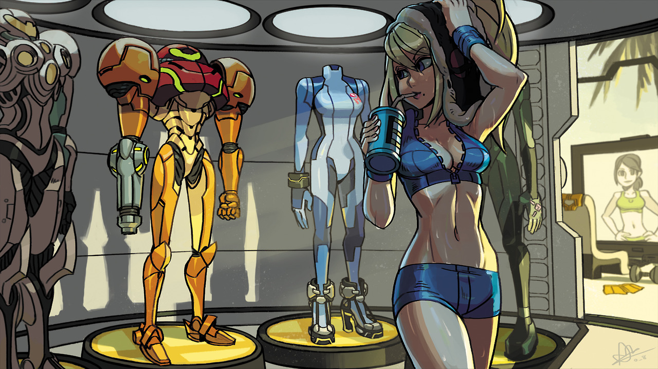 Samus (and Wii Fit Trainer) as drawn by Alex Ahad | Super ...