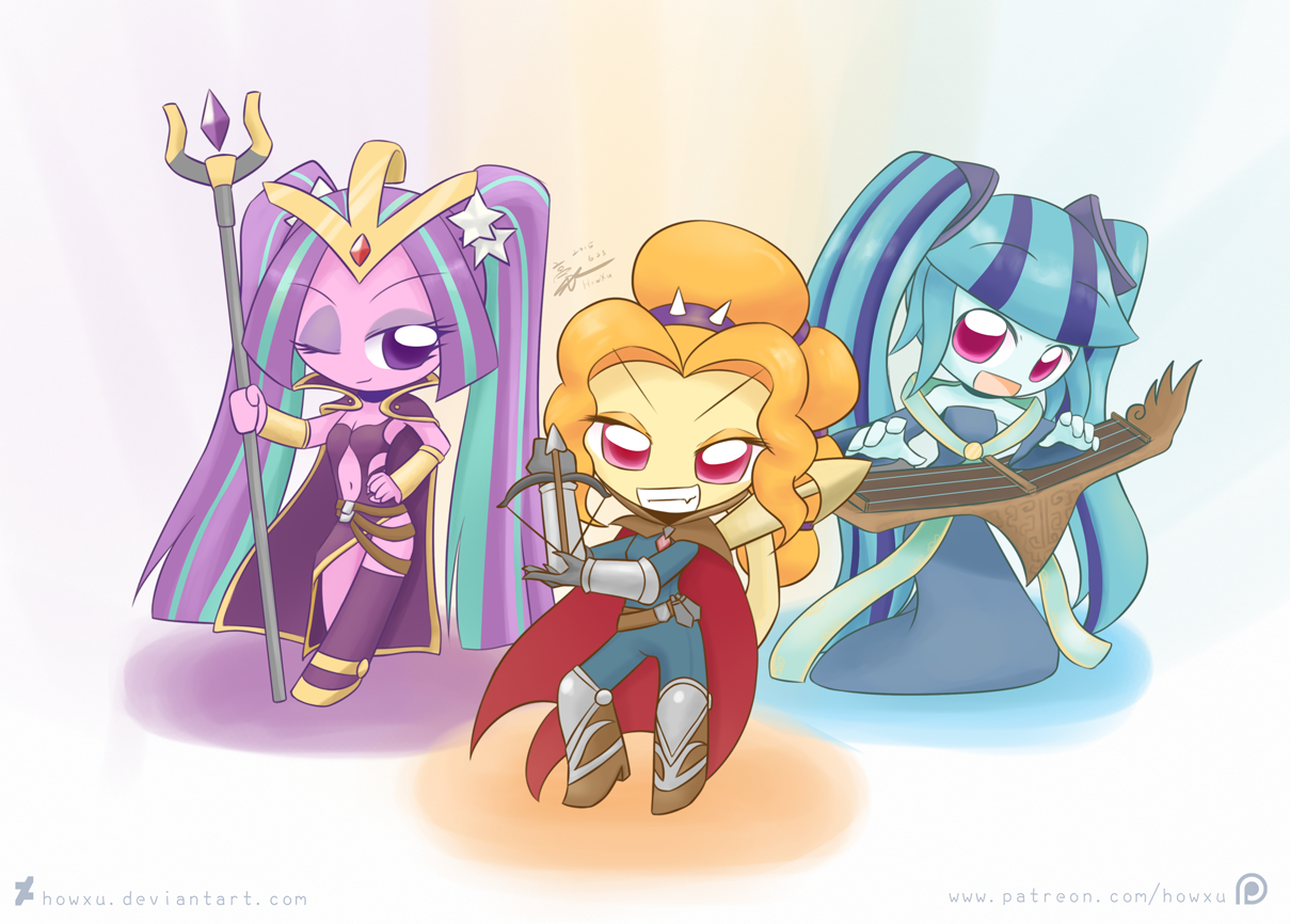 Weekly Art 27 Chibi Dazzlings By Howxu My Little Pony