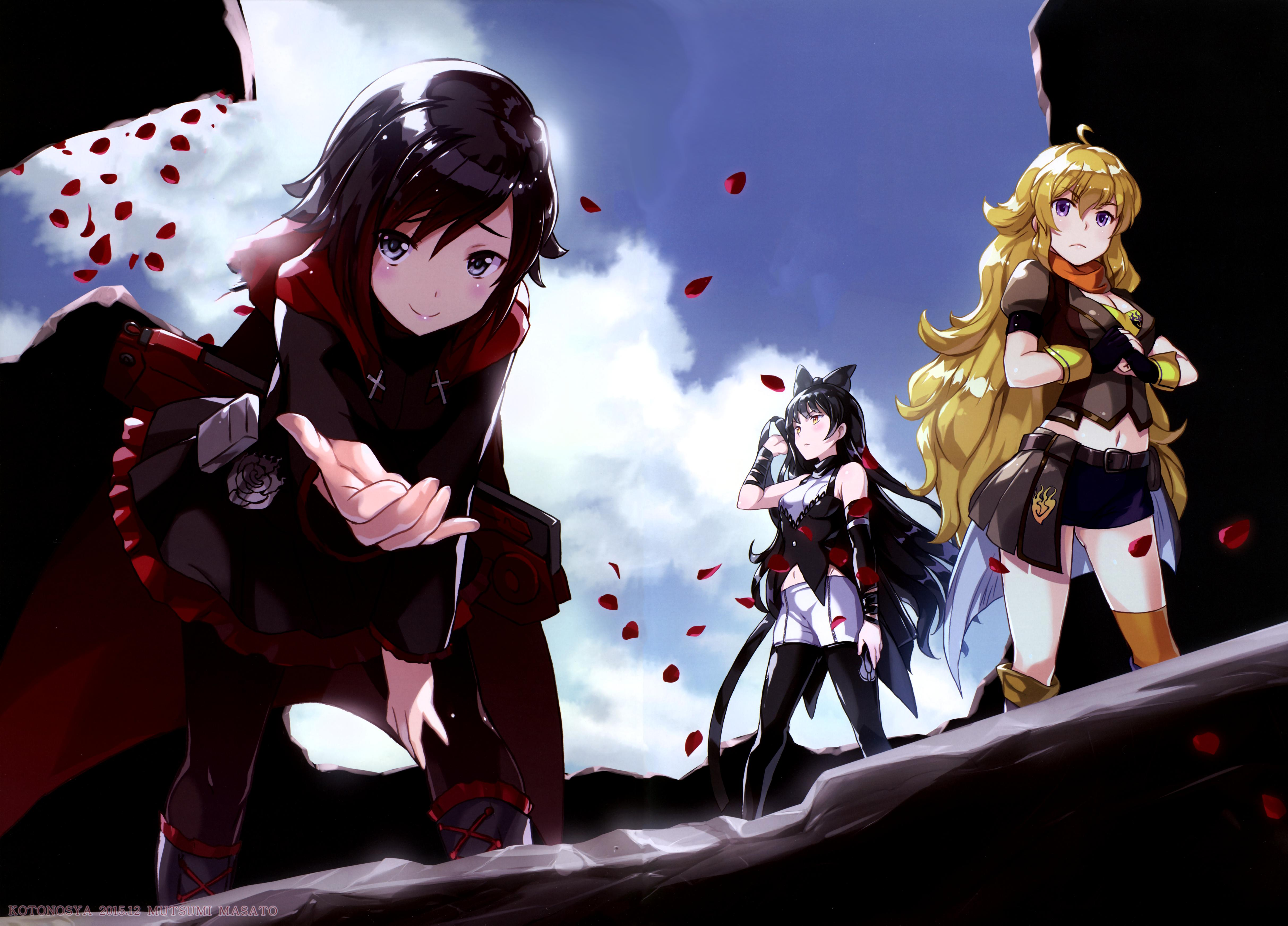 a surprisingly cool shot of team rwby minus w to the