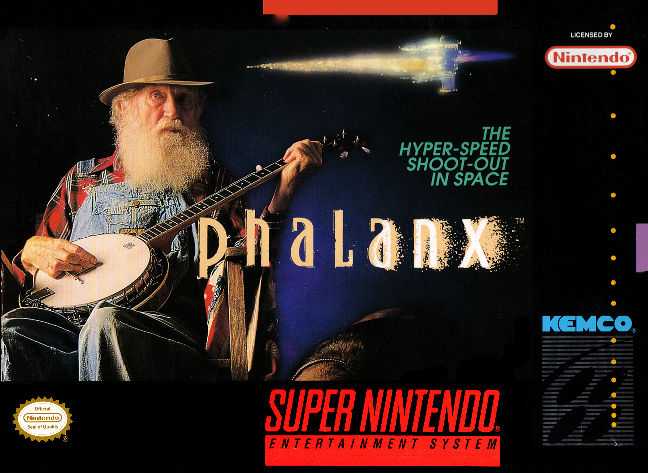 An old man wielding a banjo in front of an outer space for Outer space scene