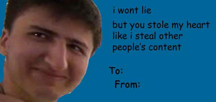 Stole my heart like how he steals content – E Cards Valentines
